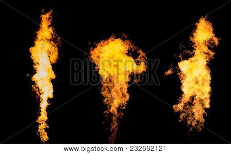 Bunch Of Three Flame Columns. Fire Tongue Goes From Gas Burner.