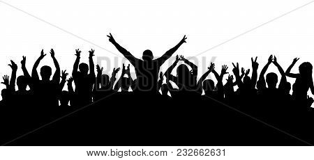 Applause, Cheerful Crowd People, Silhouette Vector, On White Background