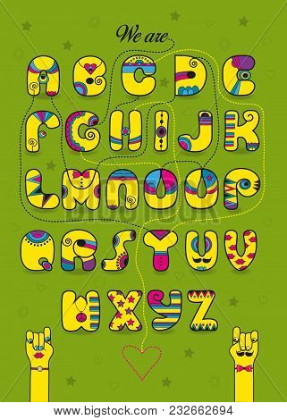 Artistic Alphabet With Encrypted Romantic Message We Are Good Match. Cartoon Yellow Letters With Bri