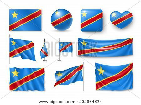 Set Democratic Republic Of The Congo Flags, Banners, Banners, Symbols, Flat Icon. Vector Illustratio