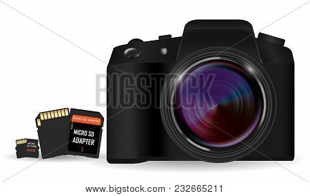 Dslr Camera With Sd And Micro Sd Card Memory