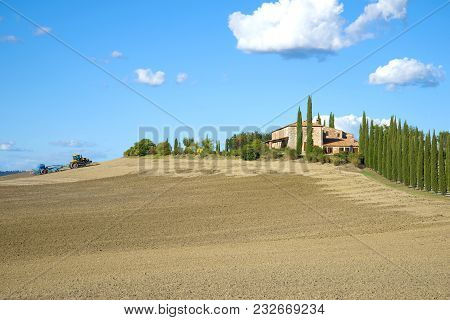 Tuscany, Italy - September 21, 2017: Rural Field Sowing On A Sunny September Day