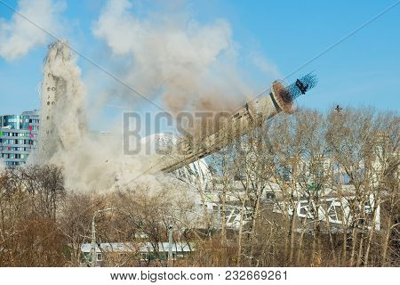 Ekaterinburg, Russia, March 24, 2018 - Demolition Of The Unfinished Tv Tower By A Directional Explos