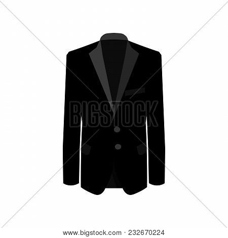 Black Man Suit On White Background. Business Suit, Business, Mens Suit, Man In Suit.  Illustration