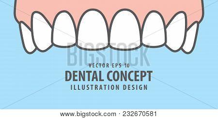 Banner Upper Healthy Teeth Illustration Vector On Blue Background. Dental Concept.