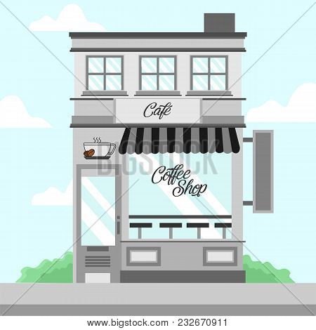Grey Coffee Shop Storefront Building Vector Background Illustration Graphic Design