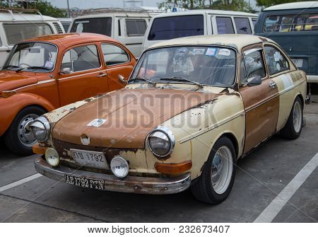 Nonthaburi, Thailand - March 10, 2018: Vw Type 3 Fastback Show In Volkswagen Club Meeting At Car Par