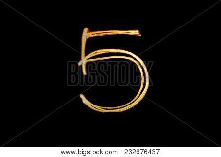 Light Painting Alphabet Five 5 On Black Back Ground Isolate.