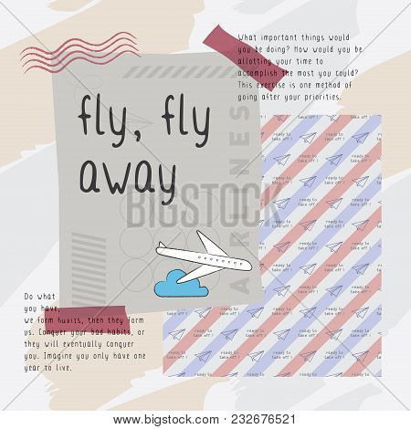 Fly Fly Away Print Vector. Classic, Edgy, And Flexible Print Vector. Playful And Unique Print With T