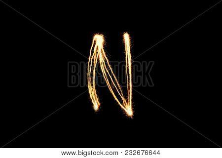 Light Painting Alphabet N Black Back Ground Isolate .