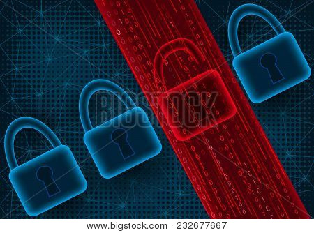 Concept Of Cyber Attack And Data Leak.vector Illustration.