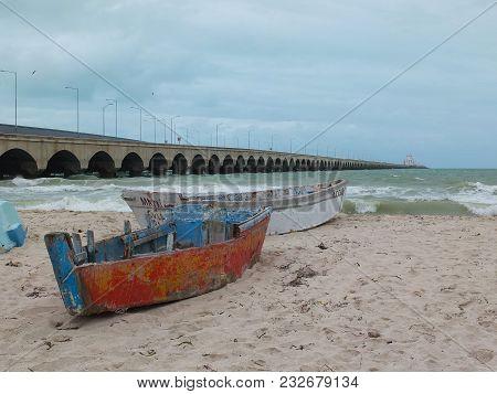 Progreso, Mexico - January 29, 2018: The Longest Pier In The World. The Port City Of Progreso, In Th