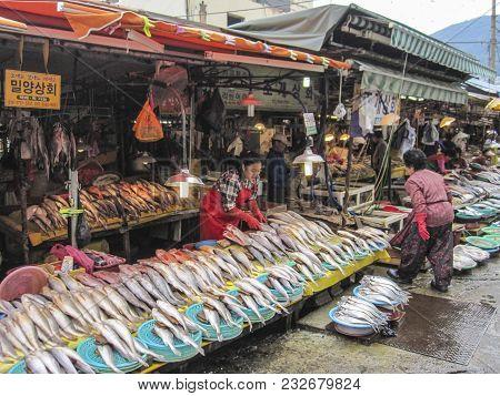 Busan, South Korea. October 2012: The Jagalchi Fish Market Is A Representative Fish Market And A Tou