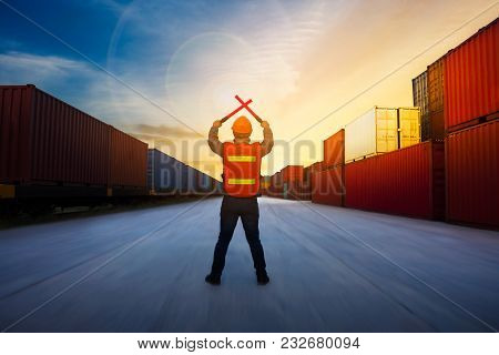 Foreman Control  Cargo Train By Light Baton  In The Container Yard Port International Concept Stop F