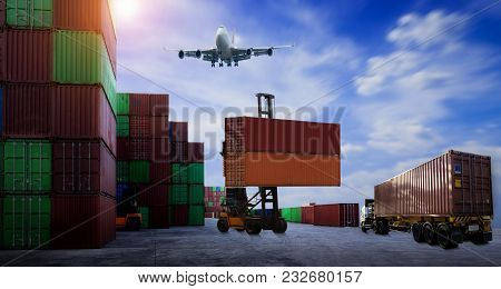Truck And Forklift Working In The Container Cargo Yard Port Concept Cargo Freight Shipping.