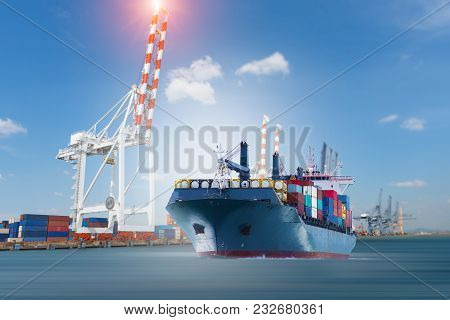 Cargo Ship Carrying Container Running Export  Goods  From  Cargo Yard Port To Other Ocean Concept Fr