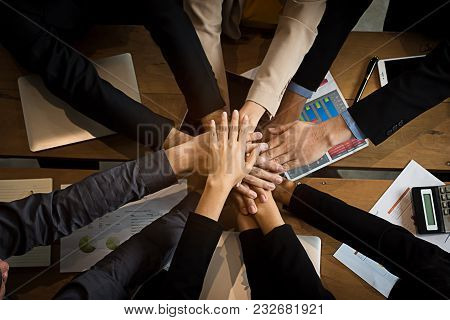 Team Hand Power Full  For Growth Up Business Project Start Up New Project Concept Worker Partner Uni