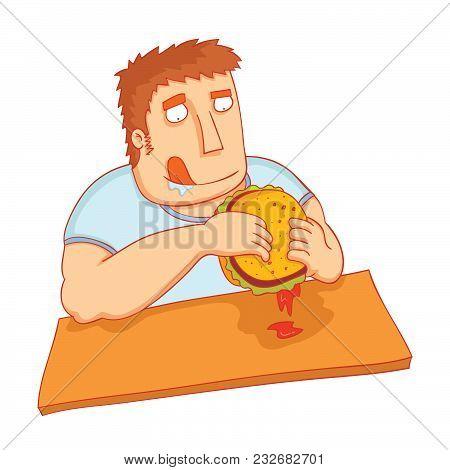 Illustration Of A Man Eat Big Tasty Burger