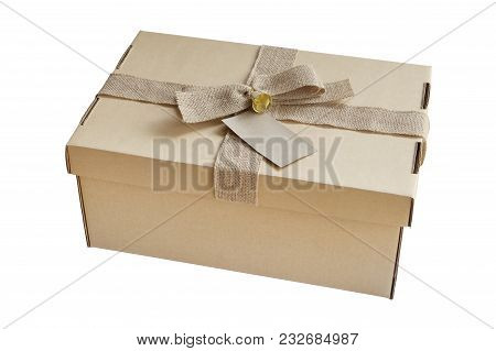 Gift Box With Card And Brown Bow Isolated Om White Background