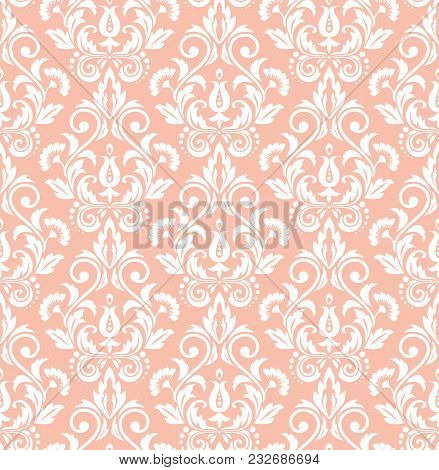 Wallpaper In The Style Of Baroque. A Seamless Vector Background. White And Pink Floral Ornament. Gra