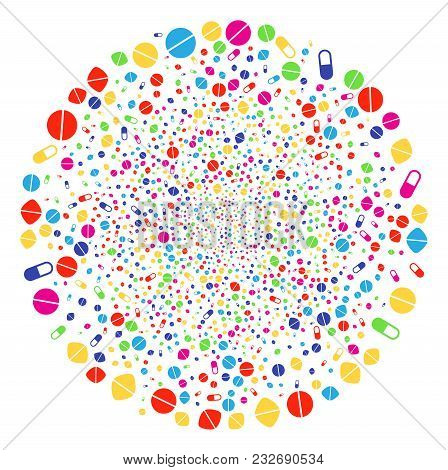 Multi Colored Medication Pills Bang Spheric Cluster. Vector Globula Bang Organized By Scatter Medica