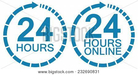 24 Twenty Four Hour Clock Online Service Logo, Blue Sign Vector 24 Hours Symbol Time, Service Operat
