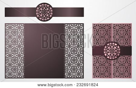 Laser Cut Ornamental Vector Template. Luxury Greeting Card, Envelope Or Wedding Invitation Card Temp