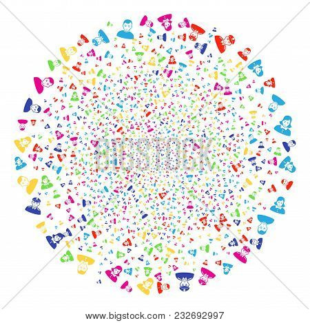 Multi Colored People Exploding Round Cluster. Vector Round Cluster Salute Organized From Scattered P
