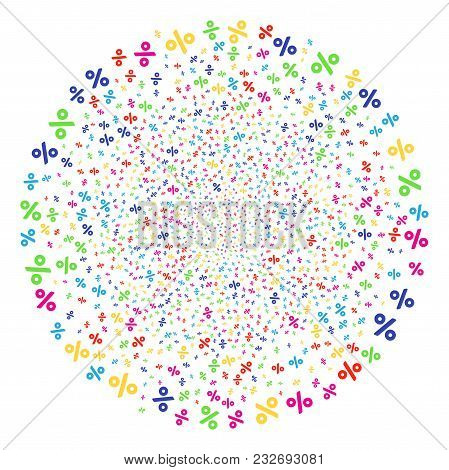 Multi Colored Percent Festive Globula. Vector Globula Salute Organized With Scattered Percent Object