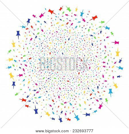 Multi Colored Pin Decoration Cluster. Vector Globula Salute Designed With Scattered Pin Elements. Mu