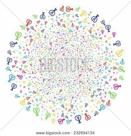 Multi Colored Poison Retort Exploding Globula. Vector Cluster Explosion Organized By Scatter Poison