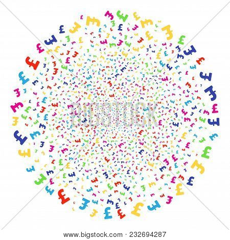 Multicolored Pound Sterling Festive Cluster. Vector Sphere Burst Done By Scatter Pound Sterling Symb