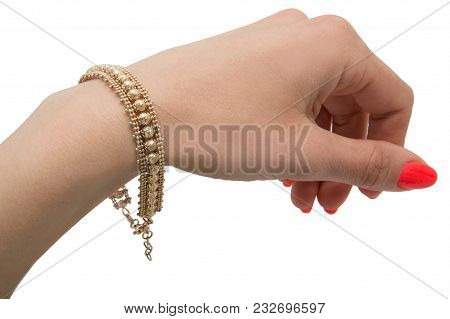 Unusual Graceful Golden Bracelet With Baloons On Woman Wrist Isolated On White Background