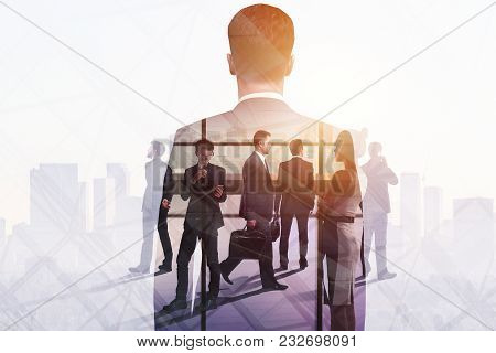 Meeting And Profit Concept. Group Of Young Businesspeople On Abstract Office City Background. Double