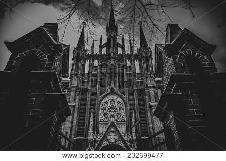 Gothic Roman Catholic Metropolitan Cathedral. Artistic Vintage Editing With Vignette.