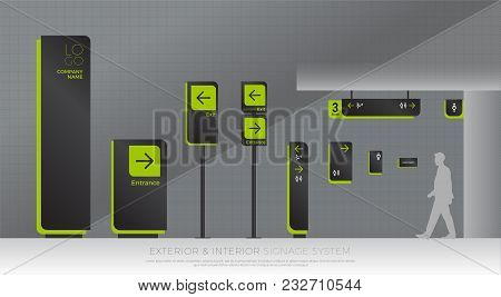 exterior and interior signage system. direction, pole, wall mount and traffic signage system design template set. empty space for logo, text, green and black color corporate identity poster