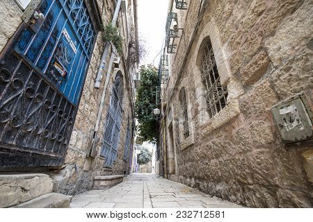 Jerusalem, Israel - February 15, 2018: A Typical Alley In One Of The Older Sections Of Jerusalem, Is