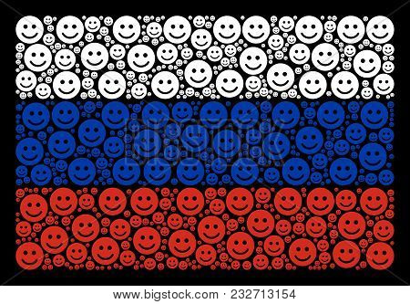 Russia National Flag Concept Done Of Glad Smile Design Elements. Vector Glad Smile Items Are Organiz