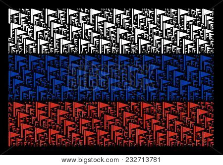 Russia Flag Pattern Organized Of Triangle Flag Pictograms. Vector Triangle Flag Items Are Combined I