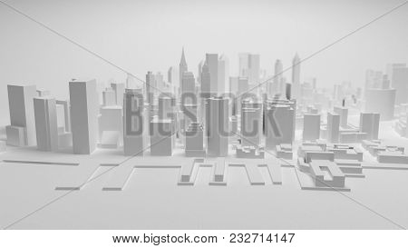3d City Panorama Isolated On White Background. 3d Rendering