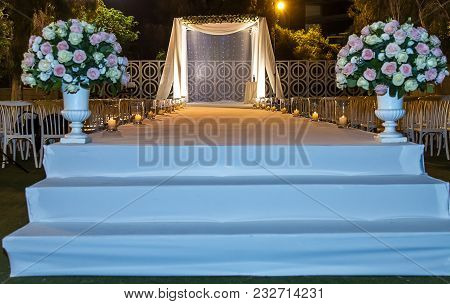 Beautiful Photo Of The Jewish Hupa , Wedding Putdoor .
