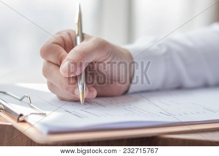 Applicant Filling In Company Application Form Hr Human Resource Document Applying For Job, Or Regist