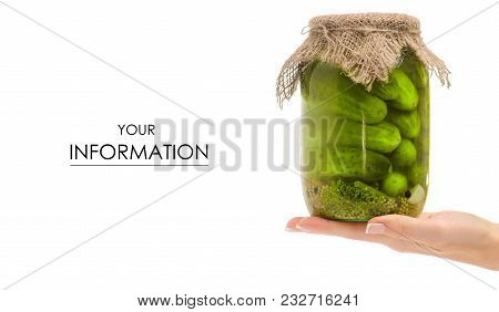 Preservation Of A Bank Of Cucumbers In Hand Pattern On A White Background Isolation