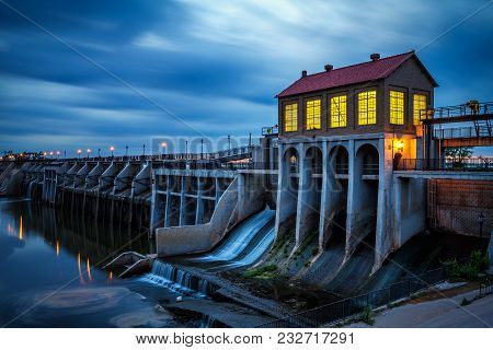 Lake Overholser Dam In Oklahoma City After Sunset. It Was Built In 1918 To Impound Water From The No