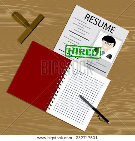 Candidacy Hired. Hiring For Position. Recruitment And Job, Now Hiring, Employment Interview. Vector