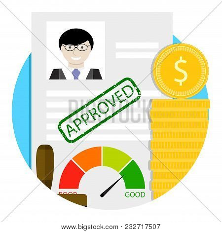 Loan Approve Emblem. Vector Business Application Badge And Label, Success Approved Banking Illustrat