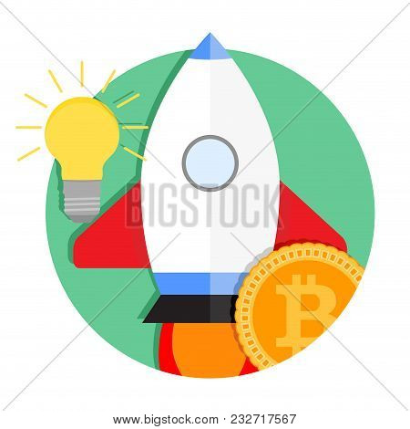 Ico Start Up Icon. Vector Bitcoin Electronic Investment, Finance Start Up Badge Icon Illustration
