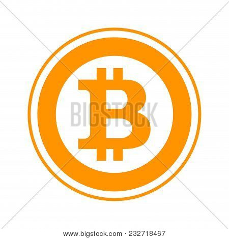 Bitcoin Flat Symbol. Cryptocurrency And Blockchain, Bitcoin Mining Business, Bitcoin Logo Illustrati