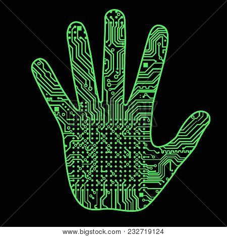 Silhouette Of A Man Hand With A High-tech Computer Circuit Board Pattern It Can Illustrate Scientifi