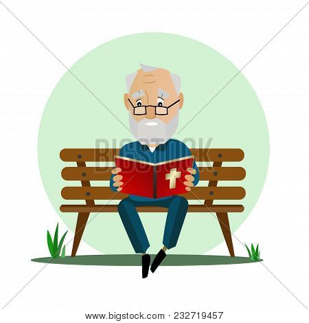 Elderly Man Reads The Bible While Sitting On A Park Bench. Isolated On White.